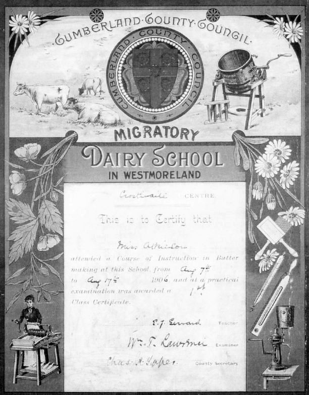 Butter making certificate
