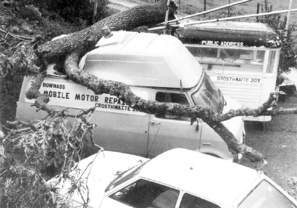 High gale-strength winds often caused damage to trees. In November 1984, a single branch from an ash tree damaged a caravan, mobile workshop and a Fiesta car. Jim Bownass had been away for the day and knew nothing of the gale until he returned home to find this wreckage.