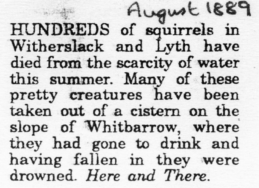 Drought-extract from the Westmorland Gazette, August 1889