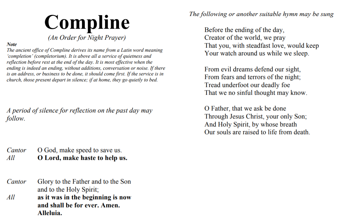 Compline sung at St. Anthony's