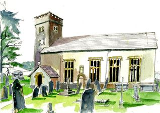 Witherslack Church watercolour